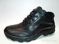 Мужские кожаные зимние кроссовки чёрные ZK