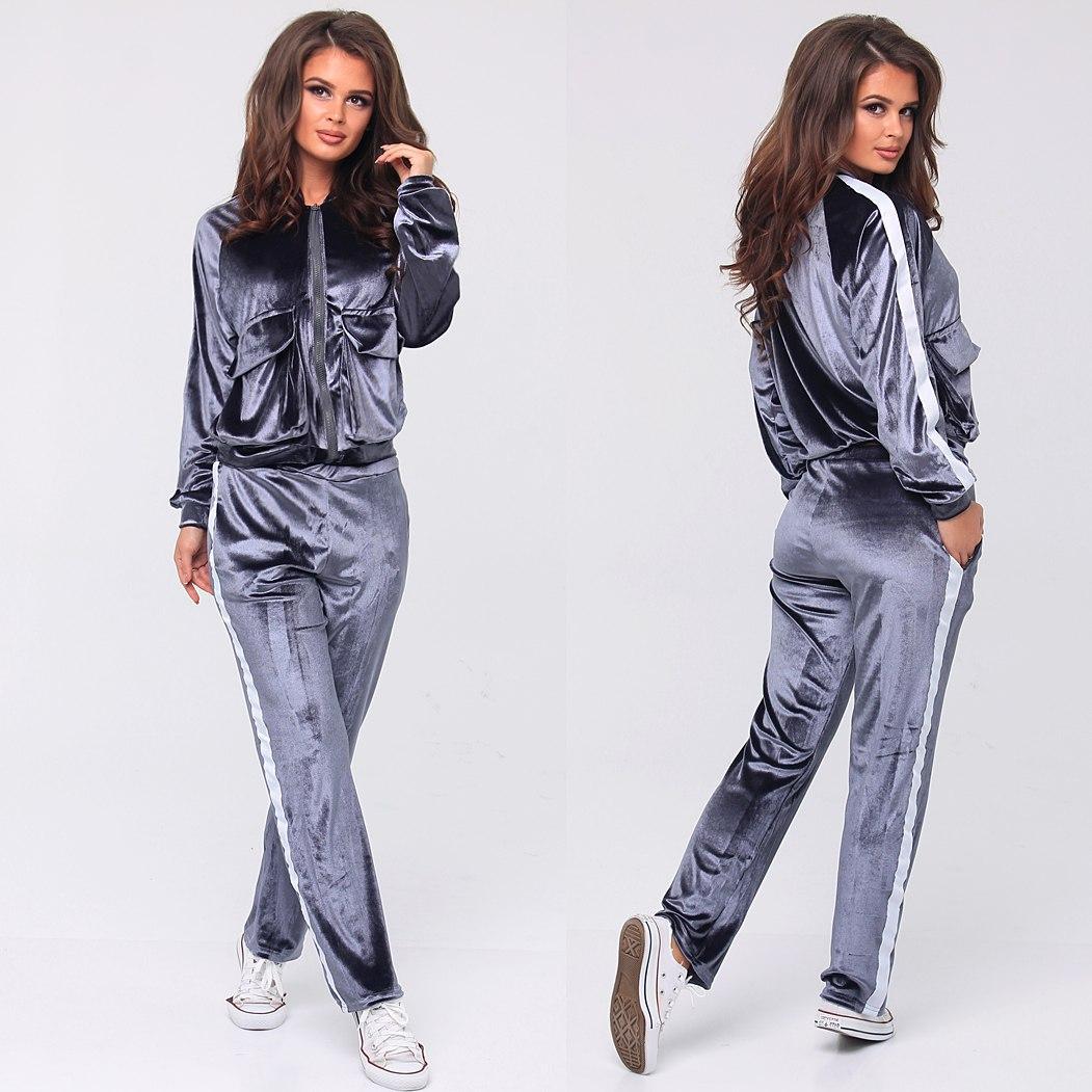 Велюровый спортивный костюм с полоской - All You Need - прямой поставщик  женской одежды оптом и 0f7fc0ea839