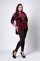 Женская велюровая блуза с вышивкой цвета фуксия afa9c51bdca50