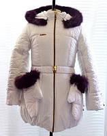 "Зимнее пальто ""Рукавичка"" , 8-13 лет, белый"