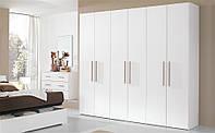 Белый распашной шкаф 6 дверей