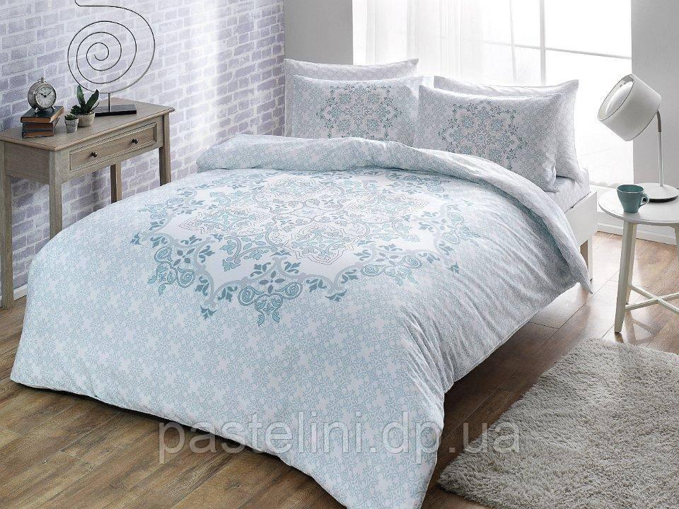 TAC Евро комплект постельного белья сатин Hazel mavi