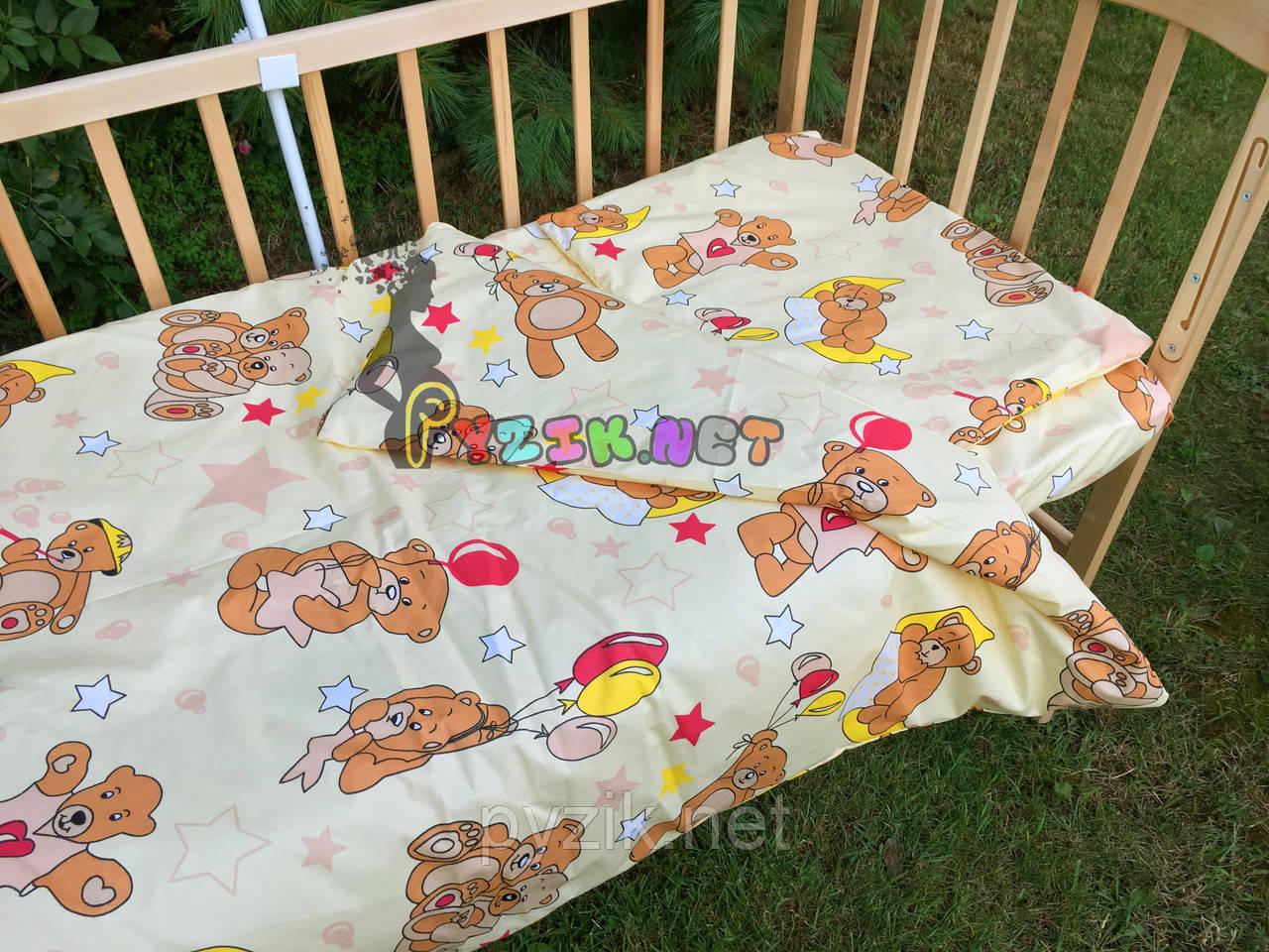 """Постельный набор в детскую кроватку (3 предмета) """"Мишки с шариками"""" светло-желтый"""