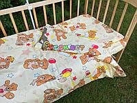 """Постельный набор в детскую кроватку (3 предмета) """"Мишки с шариками"""" светло-желтый, фото 1"""
