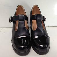 Туфли классика на каблуку женские черного цвета, фото 1