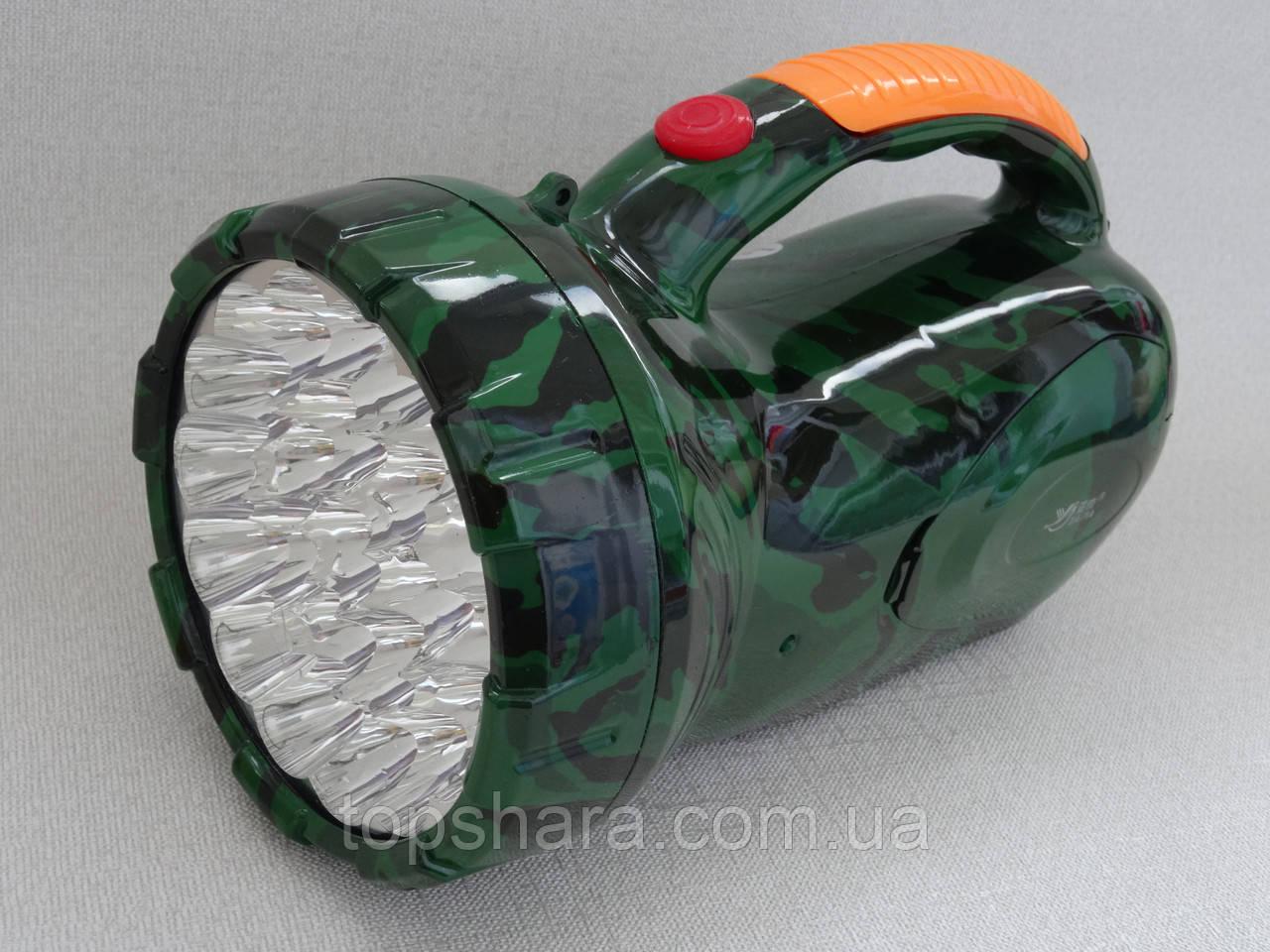 Фонарь светодиодный аккумуляторный YJ-2807 зеленый камуфляж