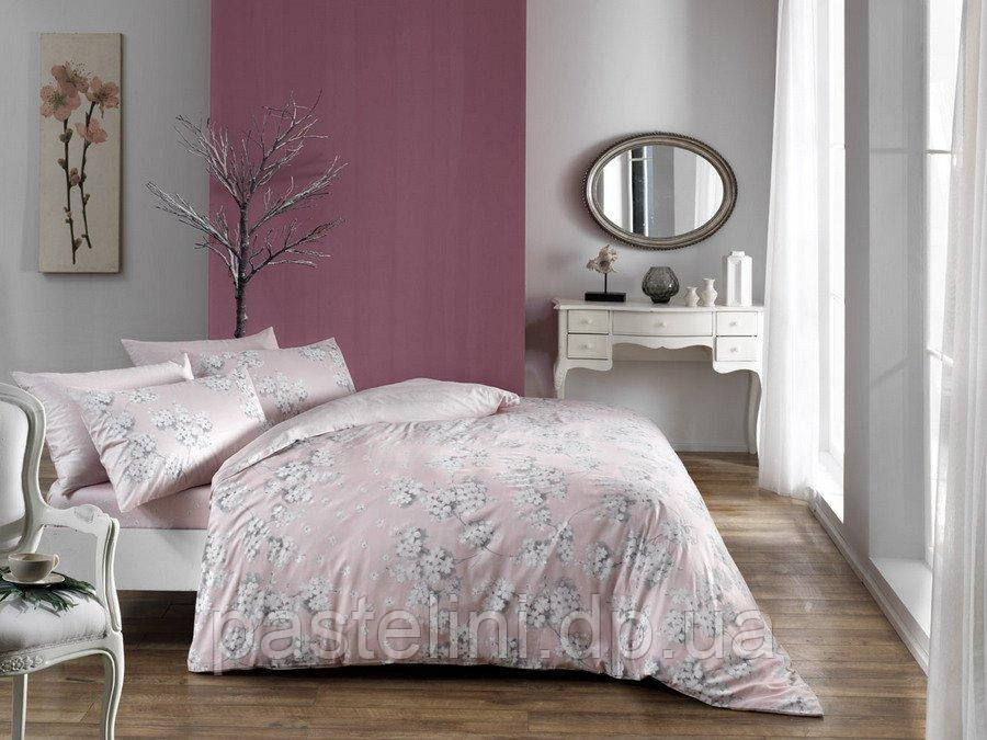 TAC Евро комплект постельного белья сатин Flora pembe