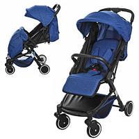 Детская прогулочная коляска M 3549-4 с чехлом на ножки, синяя
