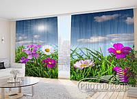 """3D Фото Шторы в зал """"Полевые яркие цветы"""" 2,7*5,0м (2 полотна по 2,5м), тесьма, фото 1"""