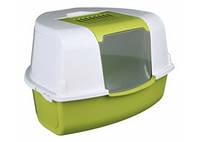 TRIXIE Tadeo Угловой туалет-домик для котов, зелёный-белый, 58х38х50см