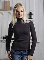 Женская водолазка из полушерсти серо-черного цвета 40-52 р, женские водолазки оптом от производителя