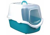 TRIXIE Vico Туалет-домик с дверцей для котов, аквамарин-белый, 40х40х56см