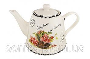 """Чайник керамічний 800мл """"Відкритка - Троянда"""""""