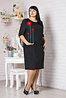 Стильное женское платье с маками, черное