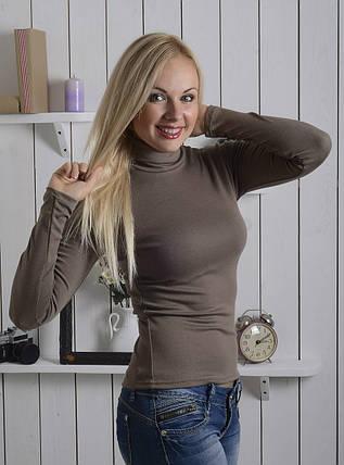 Жіноча водолазка з напівшерсті 40-52 р кольору капучіно, жіночі водолазки оптом від виробника, фото 2