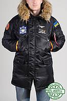 Мужская зимняя парка Olymp с нашивками - Аляска черная XXL