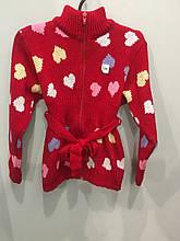Вязаная кофта с сердечками для девочки 104 см