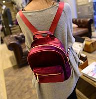 Модный бархатный женский бордовый рюкзак код 3-306