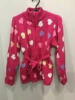 Теплая вязаная кофта для девочки 116 см, фото 1