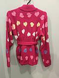 Теплая вязаная кофта для девочки 116 см, фото 3