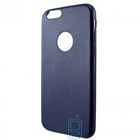 Чехол накладка кожаный для Apple iPhone 6 синий