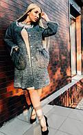 Только 48 размер! Стильное женское пальто с мехом ламы, жемчугом качество люкс