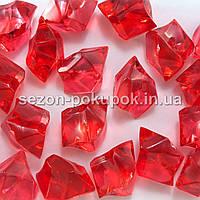 """(25шт) Кристаллы пластик 30х20мм (""""Искусственный лед"""") Цвет – КРАСНЫЙ"""