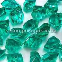 "(25шт) Кристаллы пластик 30х20мм (""Искусственный лед"") Цвет – ХВОЙНЫЙ"