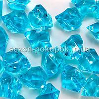 """(25шт) Кристаллы пластик 30х20мм (""""Искусственный лед"""") Цвет – ГОЛУБАЯ БИРЮЗА"""