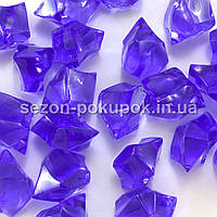 """(25шт) Кристаллы пластик 30х20мм (""""Искусственный лед"""") Цвет – ФИАЛКОВЫЙ"""