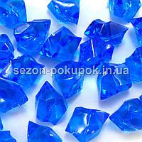 "(25шт) Кристаллы пластик 30х20мм (""Искусственный лед"") Цвет – СИНИЙ"
