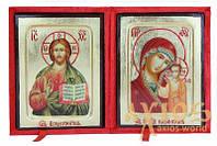 Венчальная пара Икона Спаситель 13х17 см и Казанская Богоматерь 13х17 см в греческом стиле на золоте (пара в бархатной шкатулке)