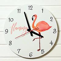 """Детские настенные часы - """"Фламинго""""  (на пластике)"""