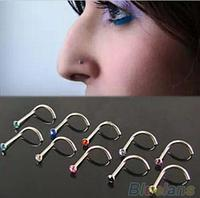 Набор 3 шт, серьги для пирсинг носа, нострила с кристаллами, цвет - серебро