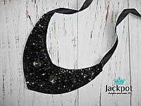 Універсальне чорне кольє з кристалами вишивка ручна робота