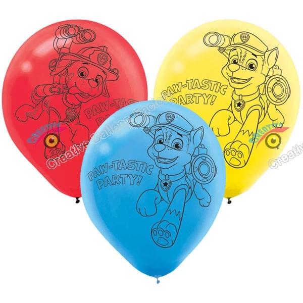 Латексні повітряні кульки щенячий патруль 3 кольори в упак. 10 шт.
