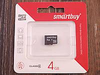 Карта памяти MicroSD SmartBuy 4Gb Класс 4, карта на 4Гб