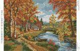Ткань с рисунком для вышивки бисером Осенний пейзаж (полная зашивка)