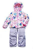"""Демисезонная детская куртка-жилет """"Animals"""" для девочки от 1,5 до 4 лет, р. 86-104 ТМ Модный карапуз Розовый"""