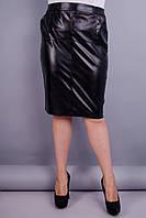 Марго. Кожаная юбка супер сайз. Черный. 58