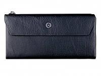 Вместительный кожаный мужской кошелек купюрник черного цвета в итальянском стиле BOSTON (B1-009 Black)