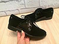 """Туфли """"W"""" черные натуральная замша и лак код 2026, фото 1"""