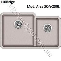 Двухчашевая гранитная мойка 810х480 мм. Aquasanita (Литва) Arca SQA-230L, монтаж под или в столешницу