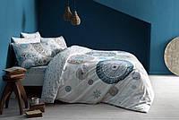Постельное белье ТАС сатин  Atlas синее евро размера