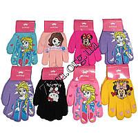 """Перчатки детские для девочек 3-4 года """"Мультгероини"""" S рисунок ассорти Оптом"""