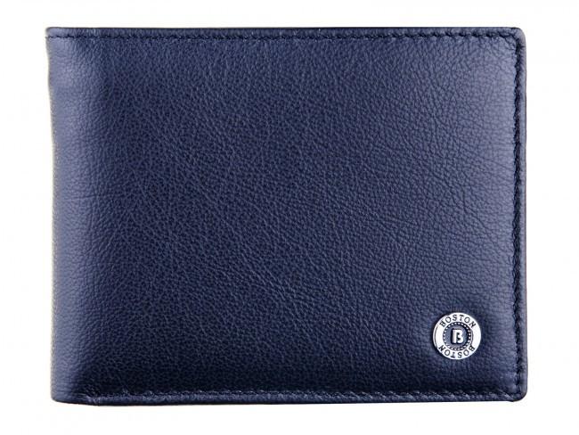 Компактный мужской портмоне - зажим из натуральной кожи в италийском стиле BOSTON (B1-014 Black)
