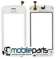 Оригинальный Сенсор (Тачскрин) для Nokia C5-03 | C5-06 (С рамкой) (Белый)