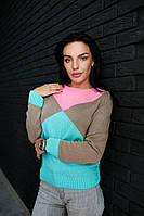 Вязаный яркий женский свитер
