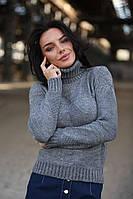 Вязаный женский теплый свитер под горло