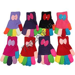 """Перчатки детские одинарные радуга с бантиком 4-6 лет ТМ """"Корона"""""""